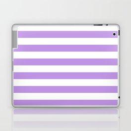 Narrow Horizontal Stripes - White and Light Violet Laptop & iPad Skin