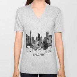 Calgary Canada Skyline BW Unisex V-Neck