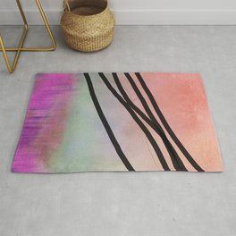 Pink Abstract with Lines - Pastel Rug