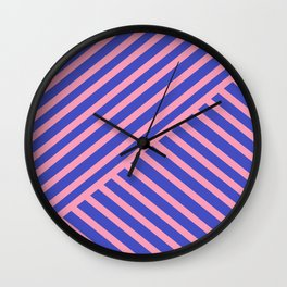 Crossing Lines - Pink & Blue Wall Clock