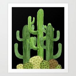 Desert Vacay Three Cacti on Black Art Print