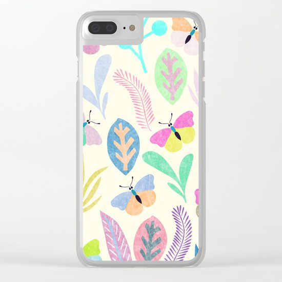 Flower and Butterfly II Clear iPhone Case