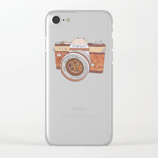 Wood Canon Clear iPhone Case
