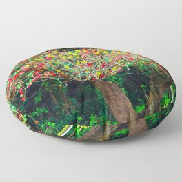 big tree with green yellow and red leaves Floor Pillow