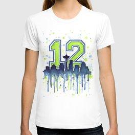 Seattle 12th Man Art Seattle Skyline Space Needle T-shirt