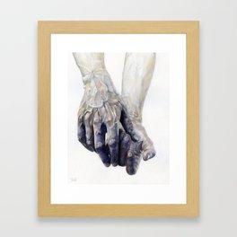 Blue Watercolour Hands Framed Art Print