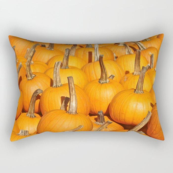 Orange Fall Pumpkins Rectangular Pillow