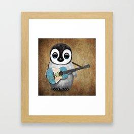 Baby Penguin Playing Guatemalan Flag Acoustic Guitar Framed Art Print