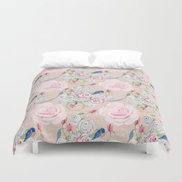 Watercolor Roses and Blush French Script Duvet Cover