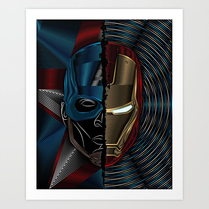 CIVIL WAR Captain America/Iron Man Art Print