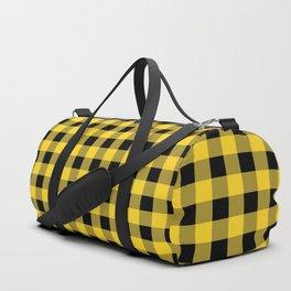 Yellow and Black Check Duffle Bag