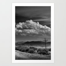 Roadside View along a Montana Road Highway in Black and White Art Print