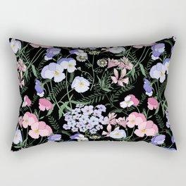 Flower bed in black Rectangular Pillow