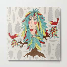 quirky bohemian boho tree, leaves and feather fantasy woman / girl Metal Print