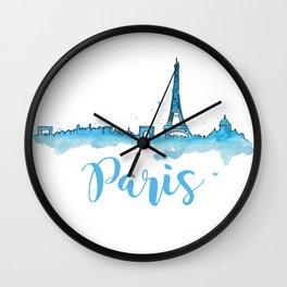 Paris Cityscape Blue Watercolor Wall Clock