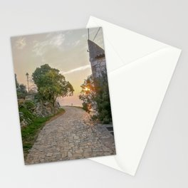 Little alley in the medieval center of the village Rovinji at sunset Stationery Cards