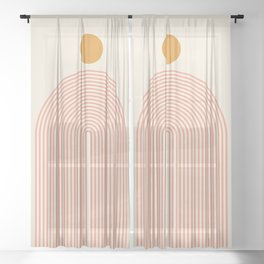 Abstraction_SUN_LINES_VISUAL_ART_Minimalism_001 Sheer Curtain