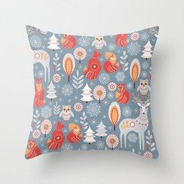 Fairy forest, deer, owls, foxes. Decorative pattern in Scandinavian style. Folk art. Throw Pillow