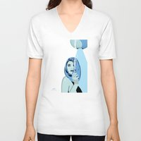cigarettes V-neck T-shirts featuring Genevieve & Cigarettes  by Andrew Formosa