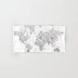 Marble world map in light grey and brown Hand & Bath Towel