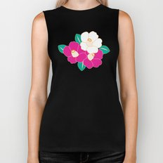 Japanese Style Camellia - Pink and Black Biker Tank