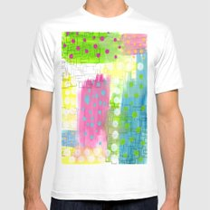 Polk-A-Dotted Background MEDIUM White Mens Fitted Tee