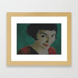 Text Portrait of Amelie Poulain with full French script of the movie Le Fabuleux Destin d'Amélie Framed Art Print