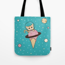 Space Cat on Ice Cream Planet Tote Bag