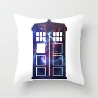 tardis Throw Pillows featuring Tardis by Zhavorsa