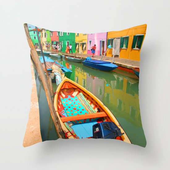 burano, italy - boat Throw Pillow