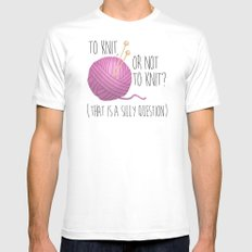 To Knit, Or Not To Knit? (That Is A Silly Question) MEDIUM White Mens Fitted Tee