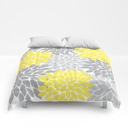 Yellow Gray Flower Burst Petals Floral Pattern Comforters