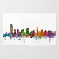 new jersey Area & Throw Rugs featuring Jersey City New Jersey Skyline by artPause