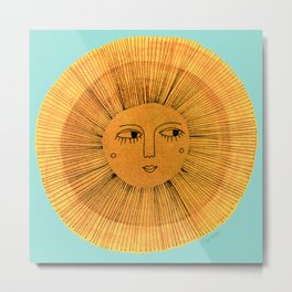 Sun Drawing Gold and Blue Metal Print