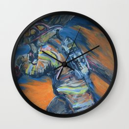 Fire Fighter Carrying his cross. Wall Clock
