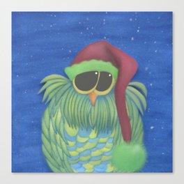 Ernesto the Secret Santa Owl Canvas Print