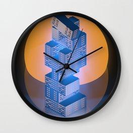 Retrowave Low Poly Jenga Apartments Wall Clock