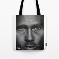 brad pitt Tote Bags featuring Brad Pitt by Future Illustrations- Artwork by Julie C