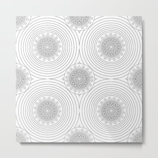 filigree black mandala Metal Print