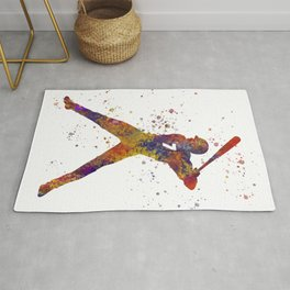 Baseball player isolated 09 in watercolor Rug