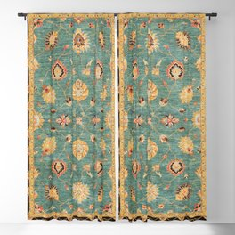 Oushak  Antique Gold Teal Turkish Rug Print Blackout Curtain