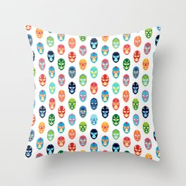 Lucha libre mask pattern Throw Pillow