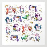 Reading Unicorn Pattern Art Print