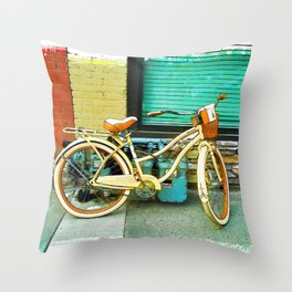 Summer Ride - Yellow Bicycle Throw Pillow