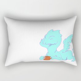 Tea Dragon Blue Rectangular Pillow