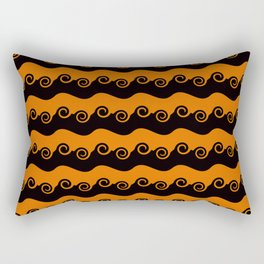 Background abstract - brightly colored orange-black spiral, pattern, texture design. Rectangular Pillow