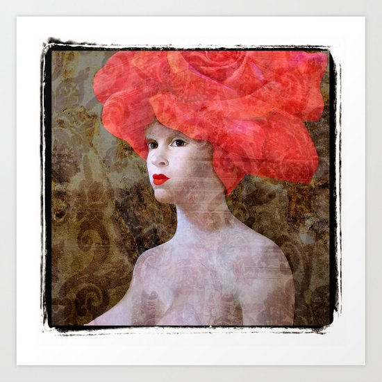 "Goddess with a Rose Hat. Variations on a Theme. ""Woman with a Hat"" Series Art Print"