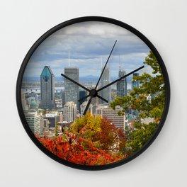 Montreal Skyline in fall Wall Clock