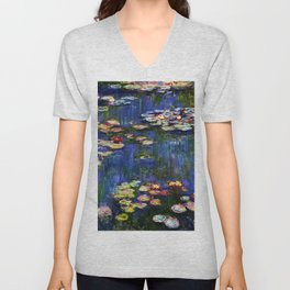 Water Lilies at Twilight impressionist painting by Claude Monet Unisex V-Neck