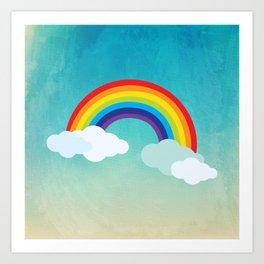 Rainbow in the sky , nursery decor , children gift, birthday gift Art Print